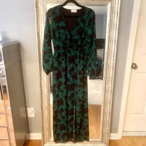 Maxi dress with sheer overlay